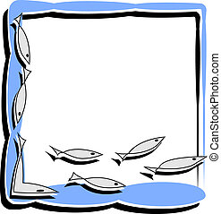 simple frame with abstract fish - funny postcard with a fish...
