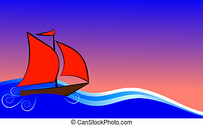 boat with red sails floats