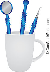 Mug with set dental instruments - Mug with a set of dental...