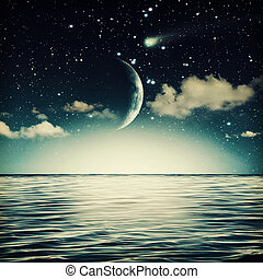 tranquil marine landscape with full moon on the sky