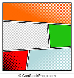 Comics - Comics pop art style blank layout template with...