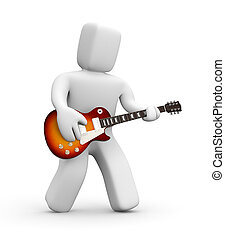 Guitarist - People in action metaphor. Isolated on white