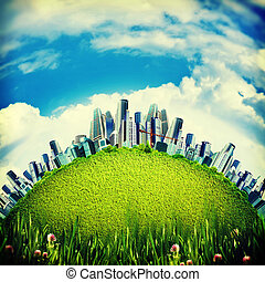 city on the hills, abstract environmental backgrounds