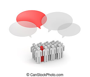Speaking out from the crowd - Success concept. Isolated on...