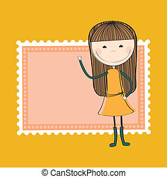 girl design over yellow background vector illustration