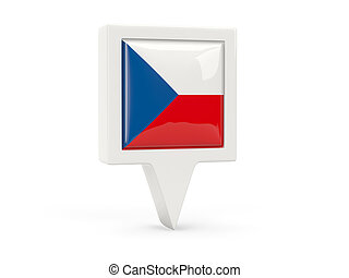 Square flag icon of czech republic isolated on white