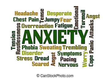 Anxiety word cloud on white background.