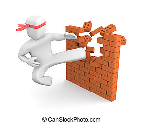 Breaking barriers - People in action metaphor. Isolated on...