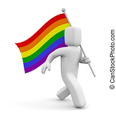 Person with Rainbow Gay Pride Flag. Isolated on white