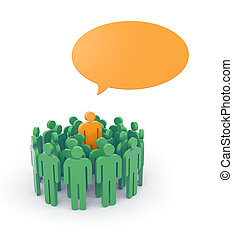 Speaking out from the crowd - Leadership concept Isolated on...