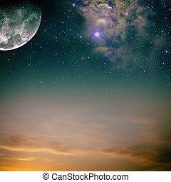 noche, Cielos, luna, estrellas, nebulosa
