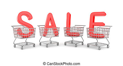 Word SALE in the shopping carts Isolated on white