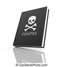 Book with pirates flag. Isolated on white