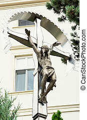 Crucifixion of Jesus Christ placed in the castle courtyard...