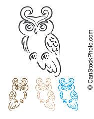 Owl ornate, art vector illustration