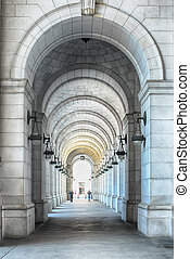 Vaulted ceiling at Washington DC train station
