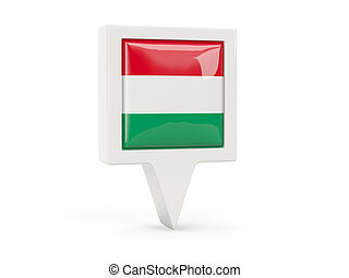 Square flag icon of hungary isolated on white