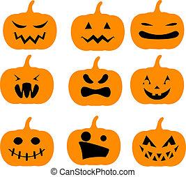 Halloween pumpkins - Set of simple orange Halloween pumpkins...