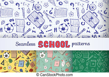 Set of seamless patterns with school objects