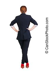 back view of redhead business woman contemplating. Young...