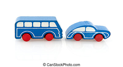Wooden toy car and bus - blue painted wooden simple car and...