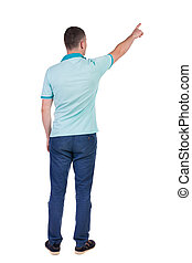 Back view of pointing young men in shirt and jeans. Young...