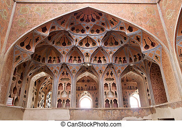 Isfahan - Architecture details of the Ali Qapu Palace view....