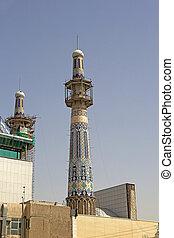 Mashhad - One of the minaret of the Imam Reza Shrine, a...