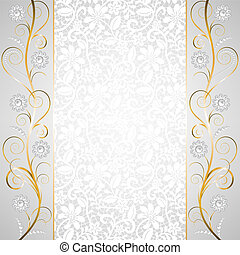 Jewelry border on white lace background Invitation card