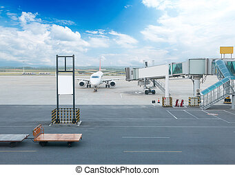 The plane at the airport on loading