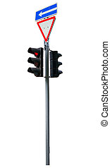 traffic lights red Isolated over white background