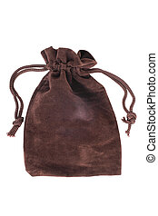 Brown pouch isolated on white background