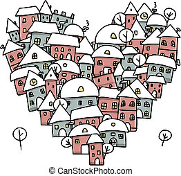 Winter city of love, heart shape sketch for your design...
