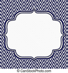 Navy Blue and White Chevron Zigzag Frame Background with...