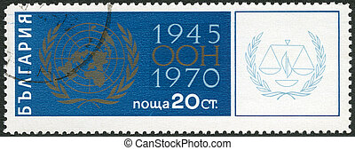 BULGARIA - 1970: shows UN Emblem, 25th anniversary of the...