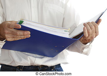 searching in folder - a man is searching in document folder