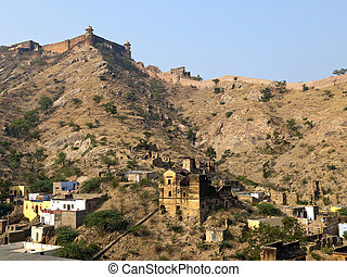 Jaigarh Fort and the local houses in Jaipur, Rajasthan,...