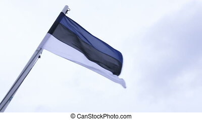 Flag of Estonia - On flagpoles waving flag of Estonia
