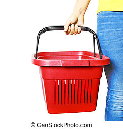 Shoping - Woman hold shopping basket isolated on white...