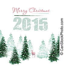 Christmas Background - Christmas background with deer and...