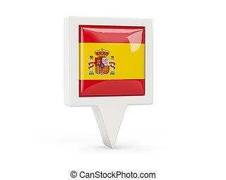 Square flag icon of spain isolated on white