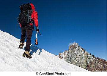 Mountain climber - Climber on a snowy ridge, Grivola, west...