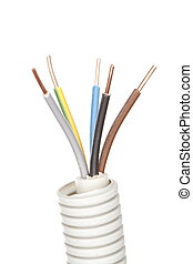 electrical wire - an electrical wire with pipe and white...