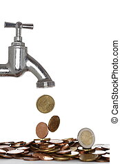 water tap with money, some coins on white background