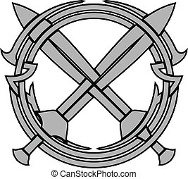 pattern and crossed swords. vector illustration