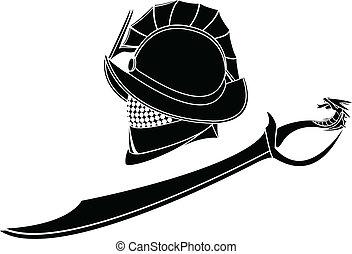 gladiators helmet and sword. stencil. vector illustration