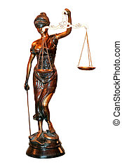 Lady Justice statue isolated included clipping path