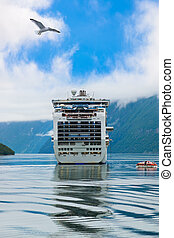 Ship in Geiranger fjord - Norway - Cruise liner in Geiranger...