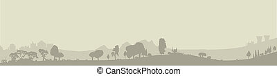 Wooded Foreground - Silhouette of a wooded foreground set on...