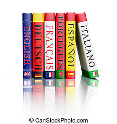 Stack of dictionaries isolated - Foreign language study...